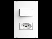 Conjunto  1 Interruptor + 1 tomada 2P+T placa e suporte 4x2 Inova Pro - Alumbra