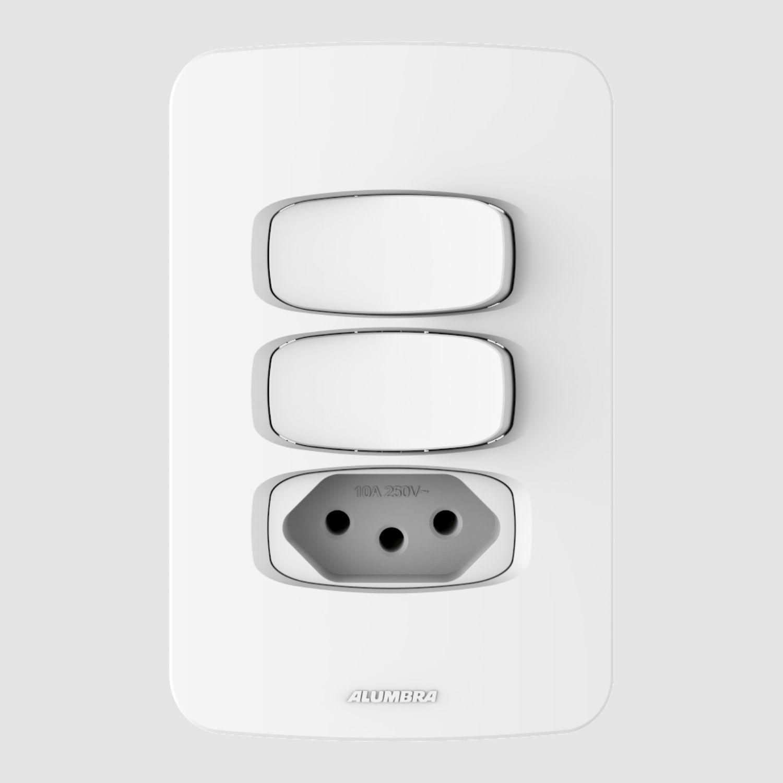 2 Interruptores Simples e 1 Tomada 10A 4x2 - Gracia