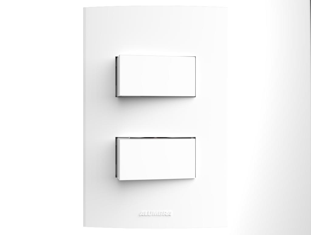 Conjunto 2 Interruptores com placa e suporte 4x2 Inova Pro - Alumbra