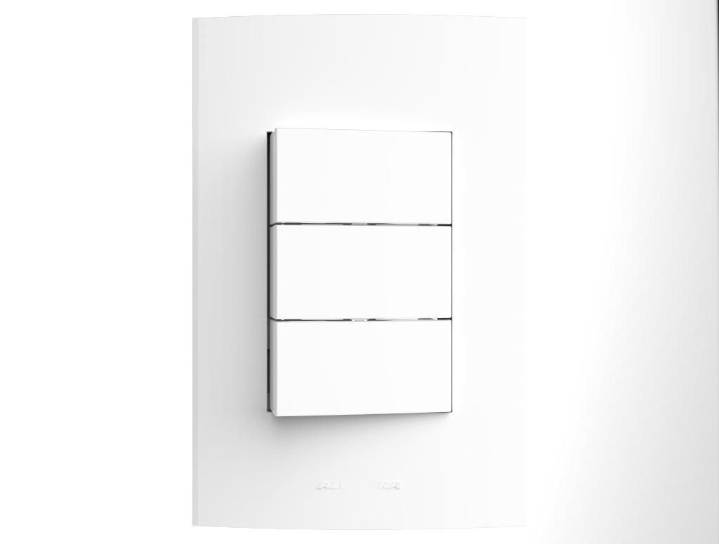 Conjunto 3 Interruptores com placa e suporte 4x2 Inova Pro - Alumbra