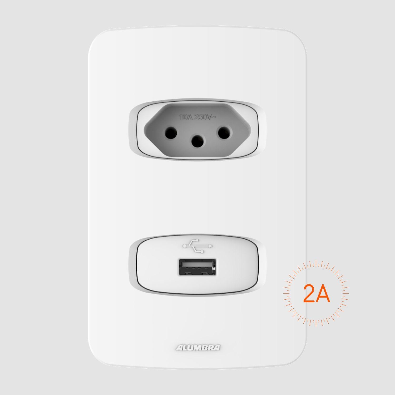 1 Tomada 2P+T 10A e 1 Tomada USB 2A Bivolt com placa 4x2