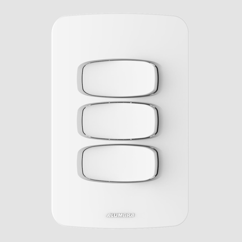 3 Interruptores Simples 10A 250V com placa 4x2