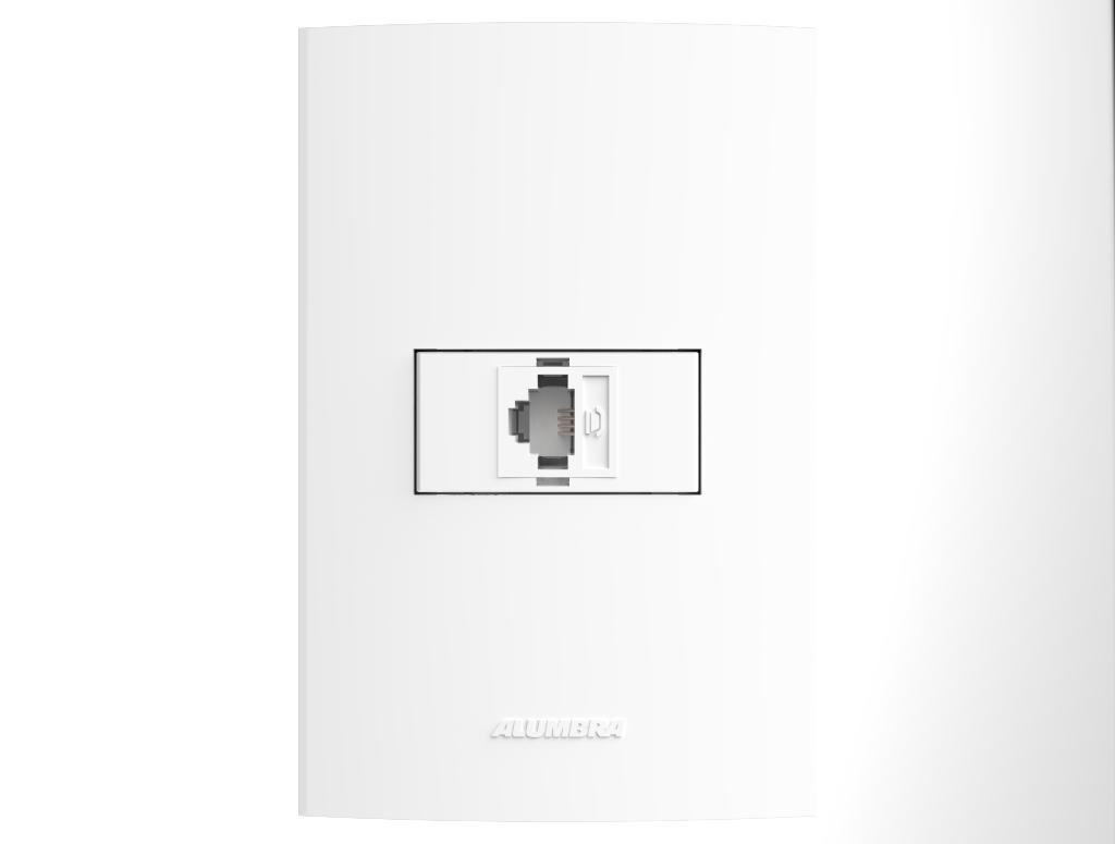 Conjunto  Tomadas telefonica RJ11 com placa e suporte 4x2 Inova Pro - Alumbra