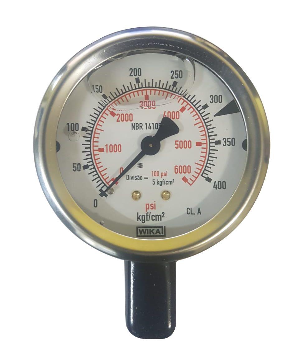 Manômetro Wika C/ Glicerina 6000 Psi / 400 Bar Vertical