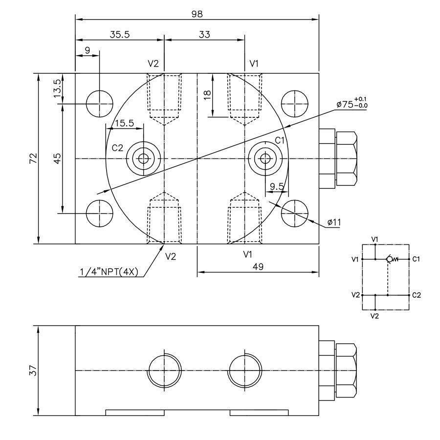 Válvula Hidráulica Retenção Pilotada Simples Control Star 200088