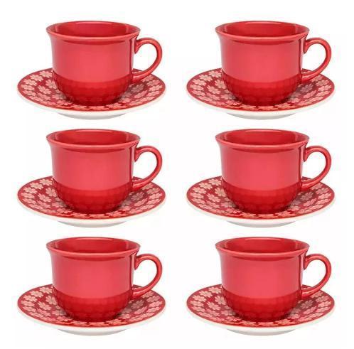 Aparelho de Chá 12 PCS Oxford Daily Floreal Renda J038-6404-1-8 (vermelho)