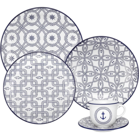 Aparelho de Jantar/Chá 20 Peças Oxford Floreal Nautico J613-6784-1-4