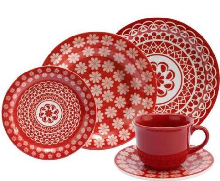Aparelho De Jantar/Chá 30 Peças Oxford Daily Floreal Renda J164-6404-1-5 (vermelho)