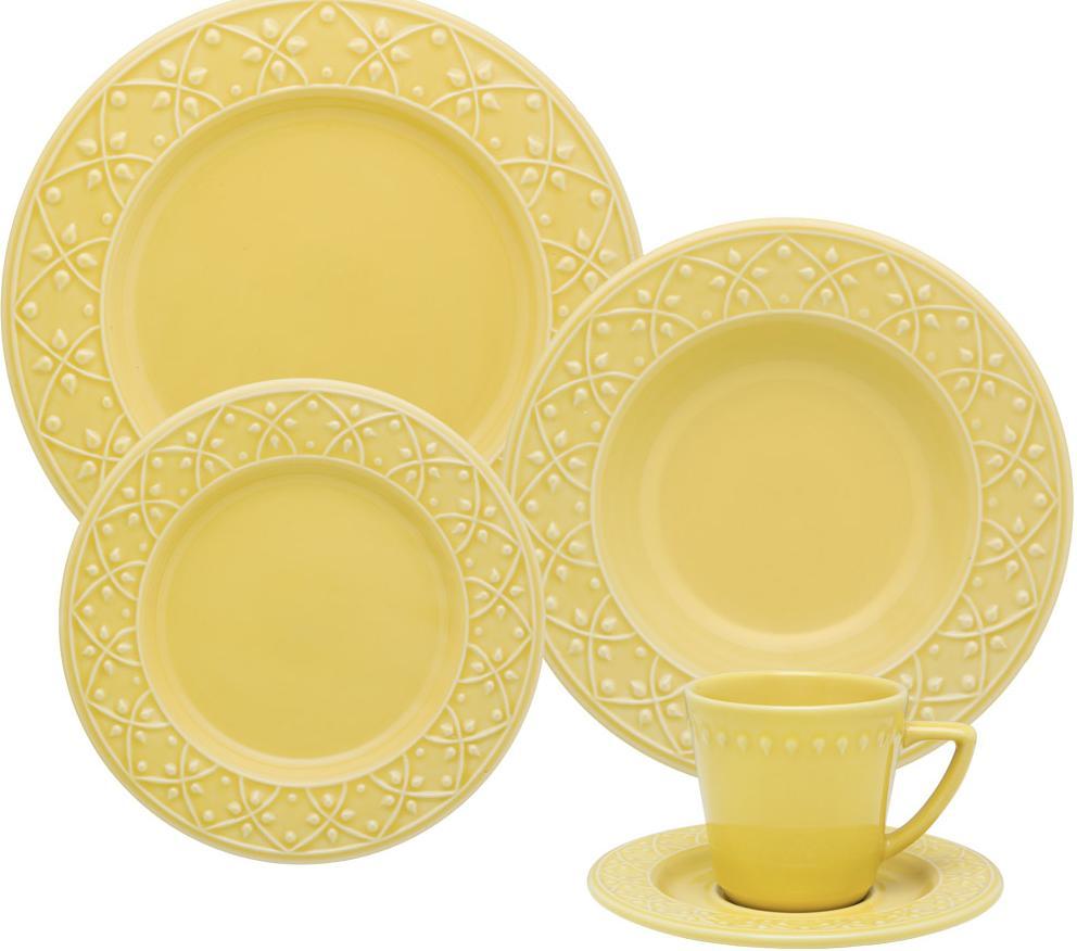 Aparelho de Jantar/Cha em Porcelana 20 PCS Oxford Mendi Sicilia  NK20-7302-1877-1-3 (amarelo)