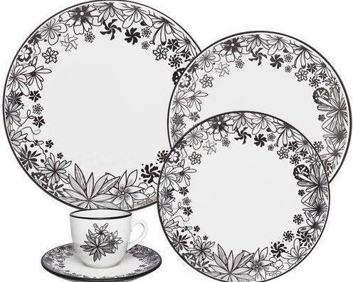 Aparelho de Jantar/Cha em Porcelana 30 PCS Oxford Coup ET30-4664-1-5 (branco/preto)