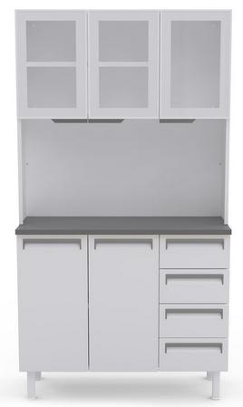 Armario de Cozinha 5P Colormaq K5PV4G (3 portas com vidro/4 gavetas/banco/grafite)
