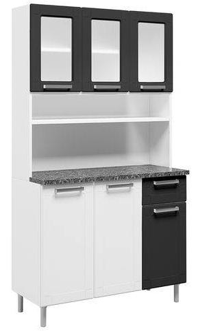 Armario de Cozinha 6P Bertolini Multipla 6143 (branco/preto)