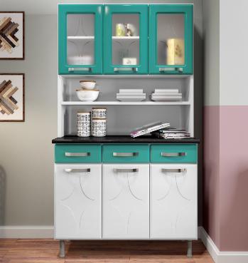 Armário de Cozinha 6P Telasul Rubi 811219-05 (branco/verde agua)