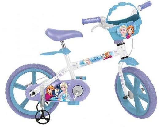 Bicicleta Infanto-Juvenil Aro 14 Bandeirante Frozen Disney 2498 (branco lilas)
