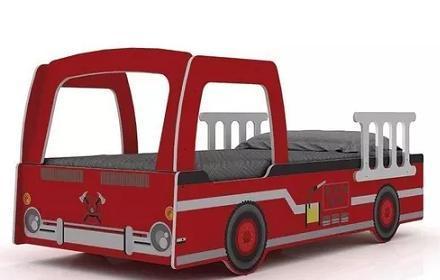 Cama Solteiro Gelius Bombeiro (90cm/branco/vermelho)