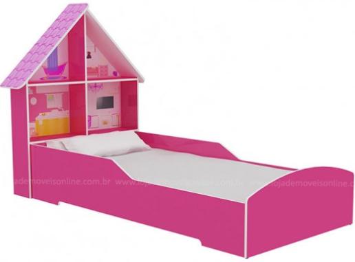 Cama Solteiro Gelius Casinha (branco/pink ploc)