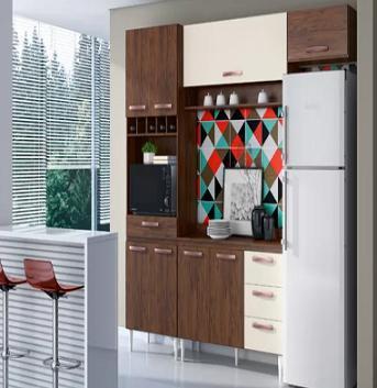 Cozinha Montada 8P Topazio Thalita 9806 (4 gavetas/balcao/teca/off white)
