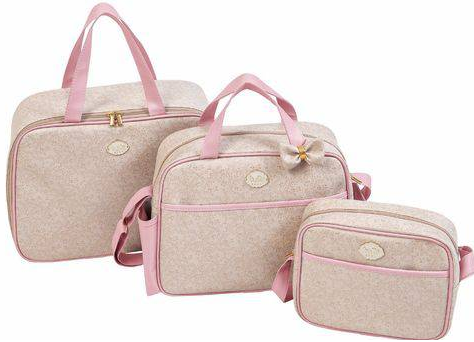 Kit Bolsa Maternidade 03 PCS Tutti Baby Classica 01018.01015 (bege/rosa)