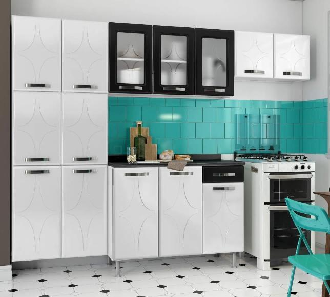 Kit-Cozinha Montada Telasul Rubi 811403 (paneleiro/armário triplo/armário geladeira/balcão)