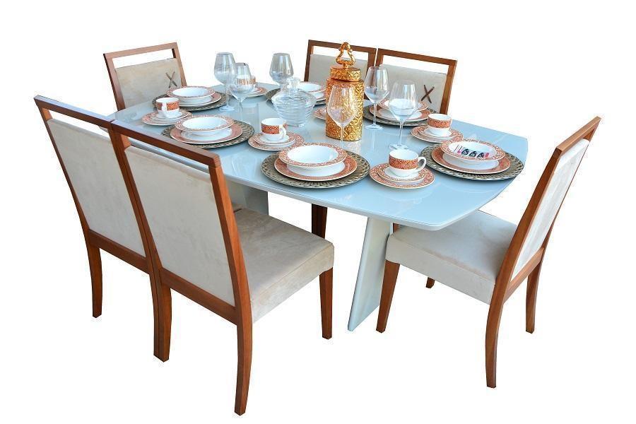 Kit Sala de jantar Semi Oval Herval MH-5315 (madeira amêndoa/off white-079/084)