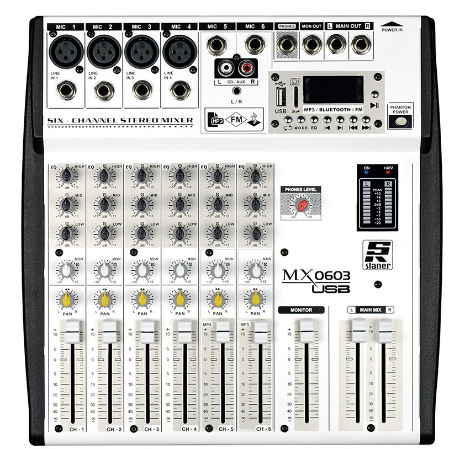 Mesa De Som 6 Canais Staner MX-0603USB