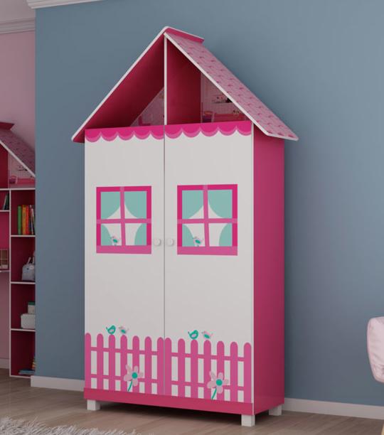 Roupeiro Infantil 2P Gelius Casinha (pink ploc/branco)