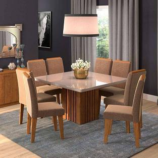 Sala de Jantar Cimol Ana - 130x130CM - 8 cadeiras