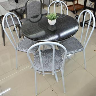 Sala de Jantar Tubulares Gol Estrela - 80CM - 4 Cadeiras