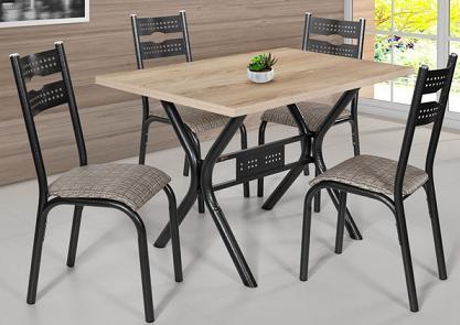 Sala de Jantar Retangular Ciplafe 451D06 (120cm/4 Cadeiras)