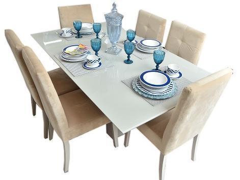 Sala de Jantar Herval MH-5253 - 180x100CM - 6 Cadeiras