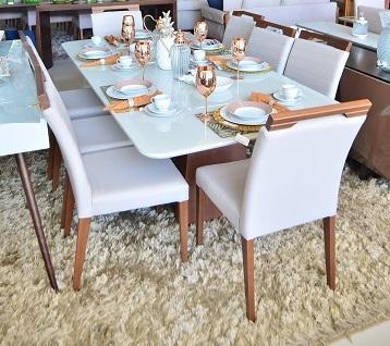Sala de Jantar Pollus Lizza - 220x110CM - 8 Cadeiras