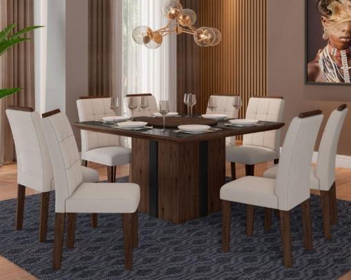Sala de Jantar Targo Jacarta - 136x136CM - 8 Cadeiras