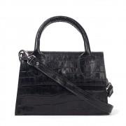 Bolsa Mini Bag de Couro Croco Preto
