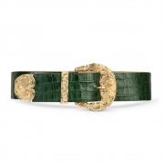 Cinto de Couro Croco Verde com Maxi Fivela Dourada Trabalhada