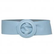 Cinto Faixa de Couro Azul Claro com Fivela Redonda Revestida