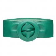 Cinto Faixa de Couro Verde Esmeralda com Fivela Redonda Revestida