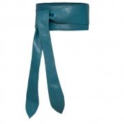 Cinto Faixa Obi de Couro Azul Petróleo com Amarração