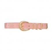 Cinto Fino de Couro Camurça Rosa com Fivela e Passantes de Metal Dourado