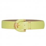 Cinto Vick de Couro Verde Lima com Fivela Revestida e Metal Dourado
