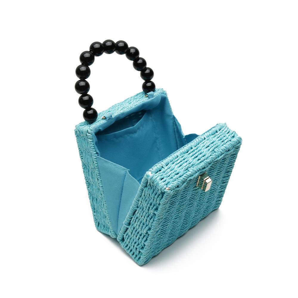 Bolsa de Palha Azul com Alça de Esferas
