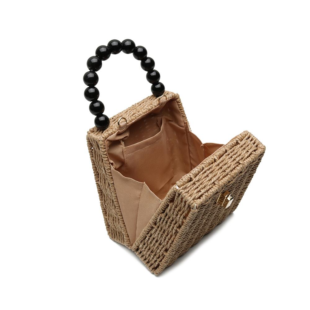Bolsa de Palha Bege com Alça de Esferas