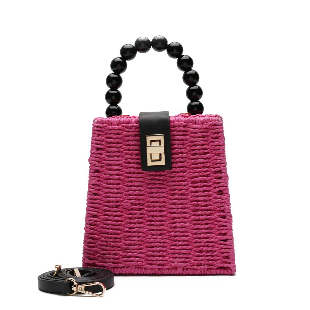 Bolsa de Palha Pink com Alça de Esferas