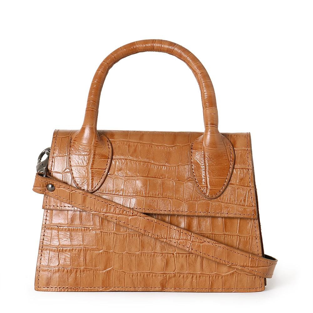 Bolsa Mini Bag de Couro Croco Caramelo