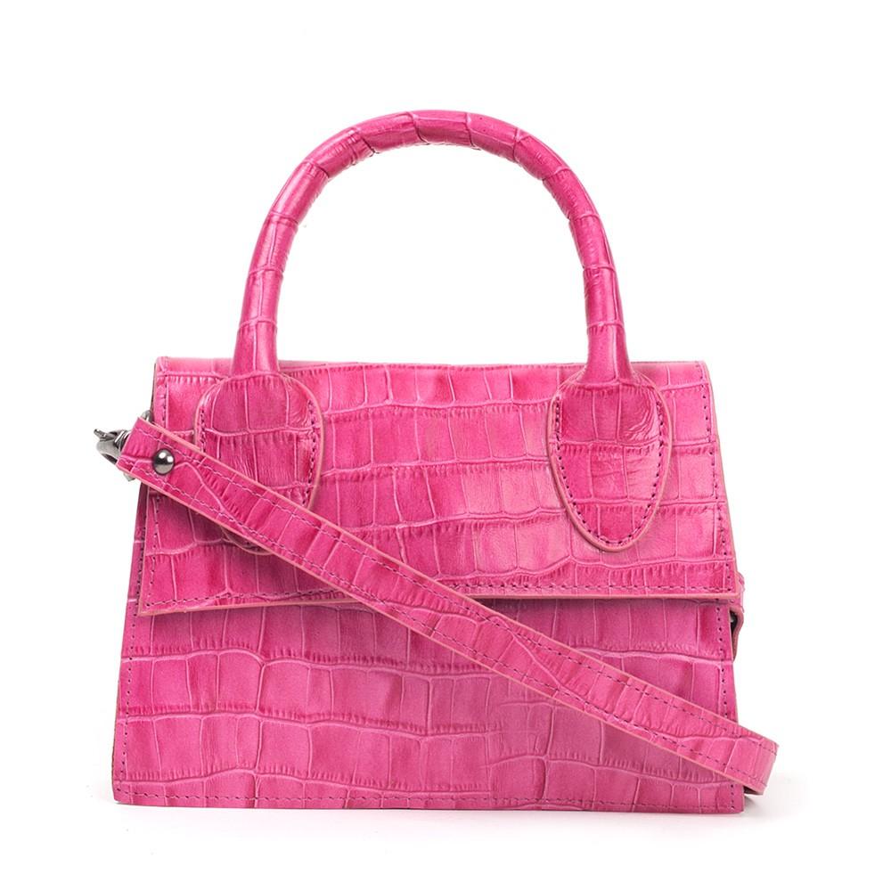 Bolsa Mini Bag de Couro Croco Pink
