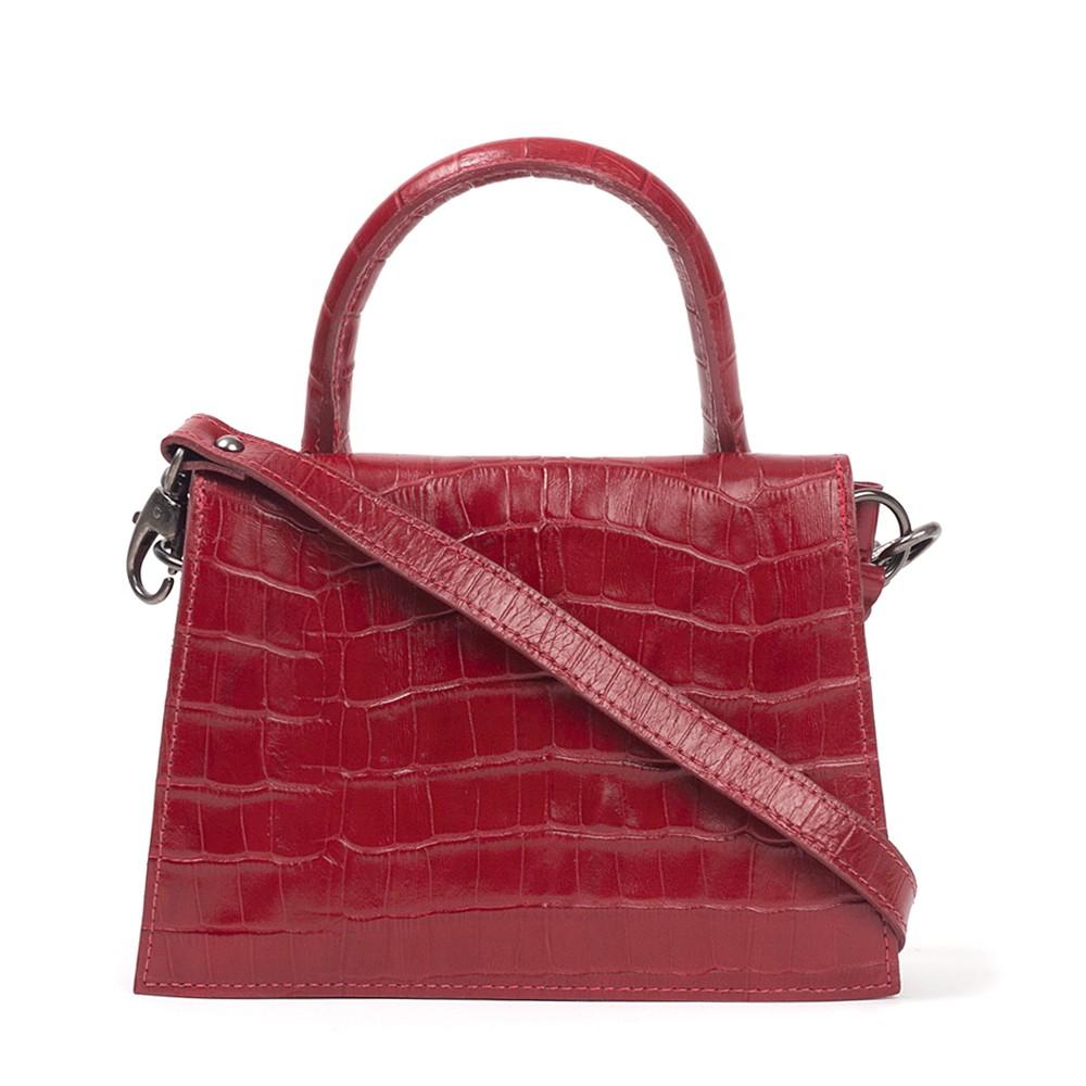 Bolsa Mini Bag de Couro Croco Vermelha