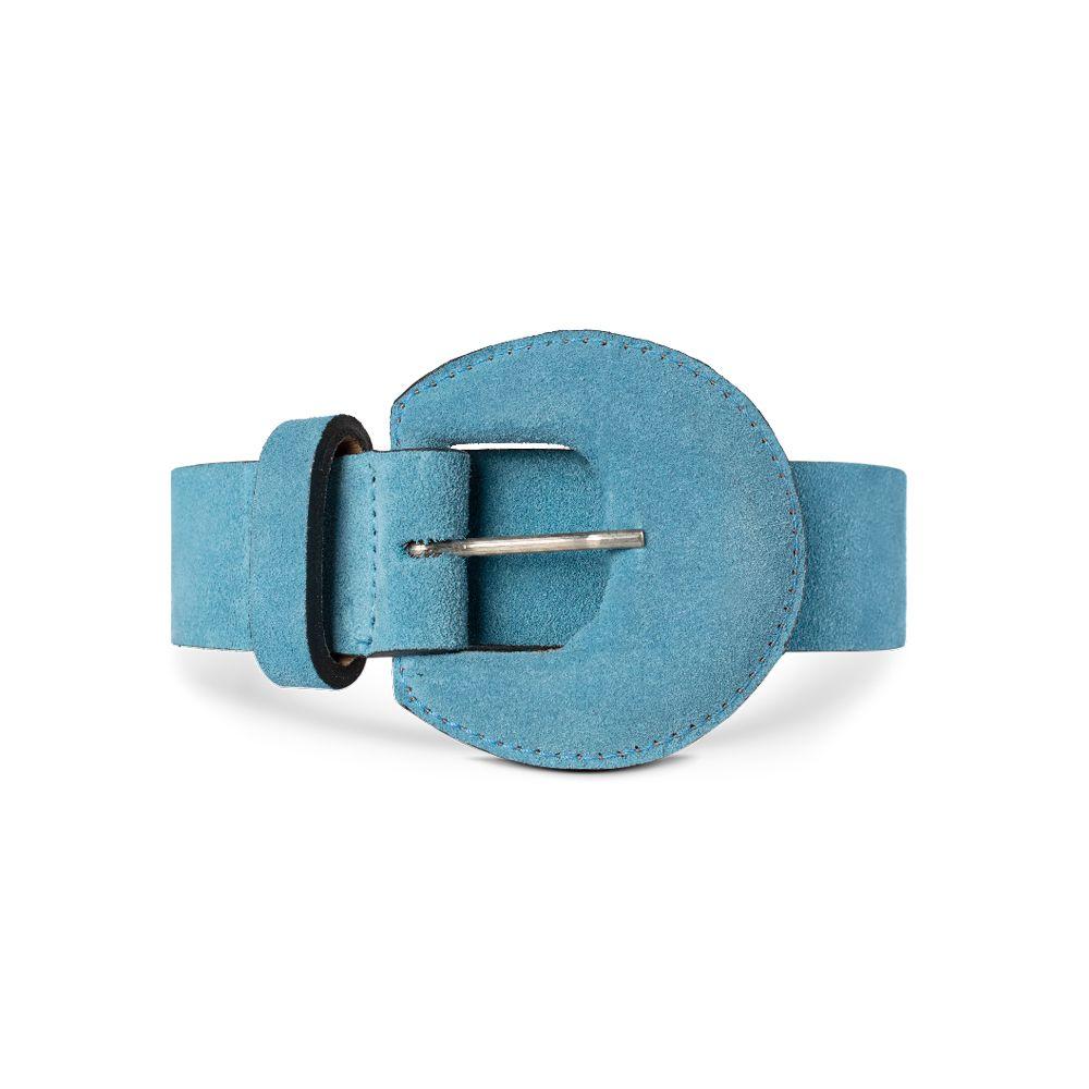 Cinto de Couro Camurça Azul com Fivela Meia Lua Revestida