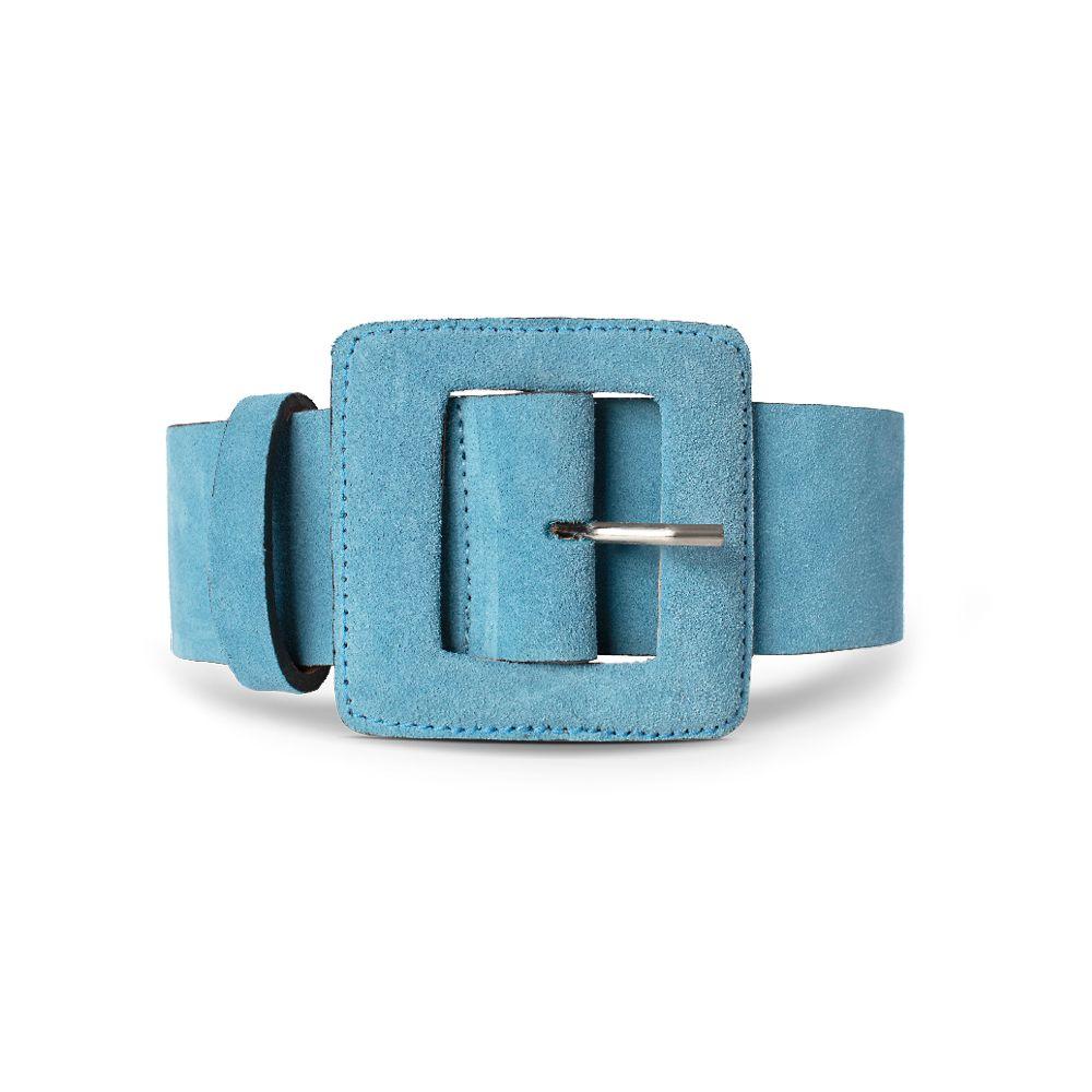 Cinto de Couro Camurça Azul com Fivela Quadrada Revestida