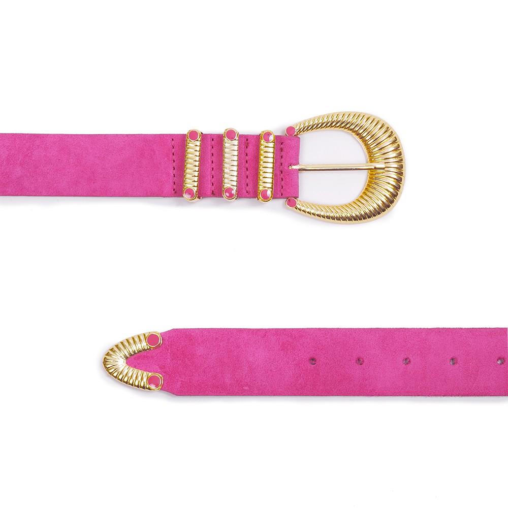 Cinto de Couro Camurça Pink com Fivela e Passantes de Metal Dourado