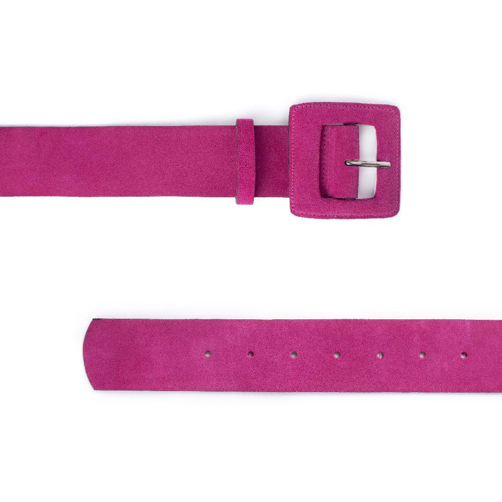 Cinto de Couro Camurça Pink com Fivela Quadrada Revestida