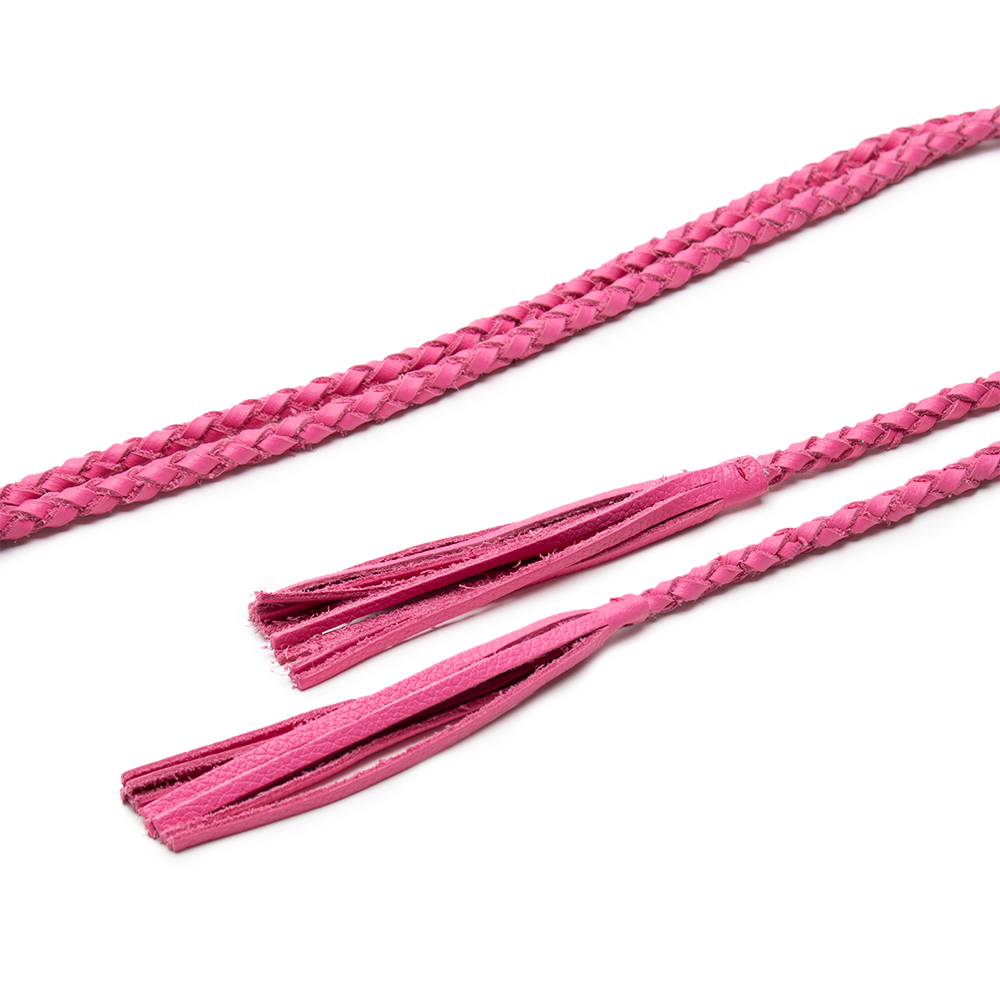 Cinto de Couro Cordão Trançado Rosa Chiclete com Franjas